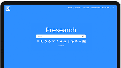 Presearch.org home page